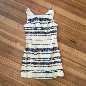Banana Republic cream/ navy sheath dress. Size 10